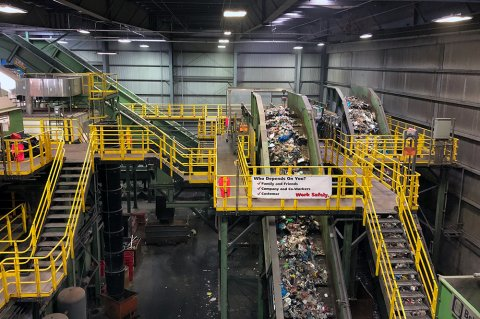 The sorting facility at Sims MRF in Sunset Park, Brooklyn.
